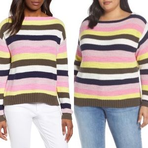 Caslon Boat Neck Striped Sweater Size 1X NEW